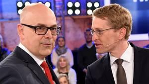 """SPD-Ministerpräsident Torsten Albig (l.) und sein CDU-Herausforderer Daniel Günther vor dem """"Schlampen""""-Vorwurf"""