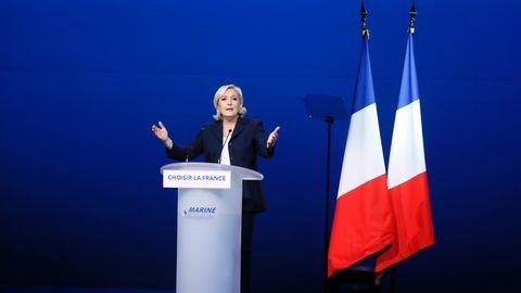 Die französische Präsidentschaftskandidatin Marine Le Pen bei ihrem Wahlkampfauftritt am 1. Mai in Villepinte