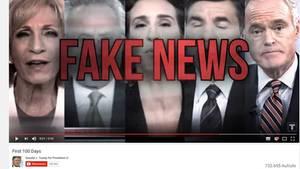 Videostill 100 Tage Donald Trump im Amt - In rot prangt Fake News über 5 Journalisten-Portraits - CNN lehnt den Werbeclip ab