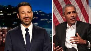 Der US-Moderator Jimmy Kimmel (l.) und der ehemalige Präsident der USA, Barack Obama