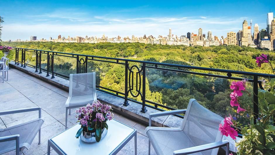 Blick von der Dachterrasse: Die Wohnung liegt an der südwestlichen Ecke des Central Parks und bietet einen traumhaften Blick auf die Stadt.