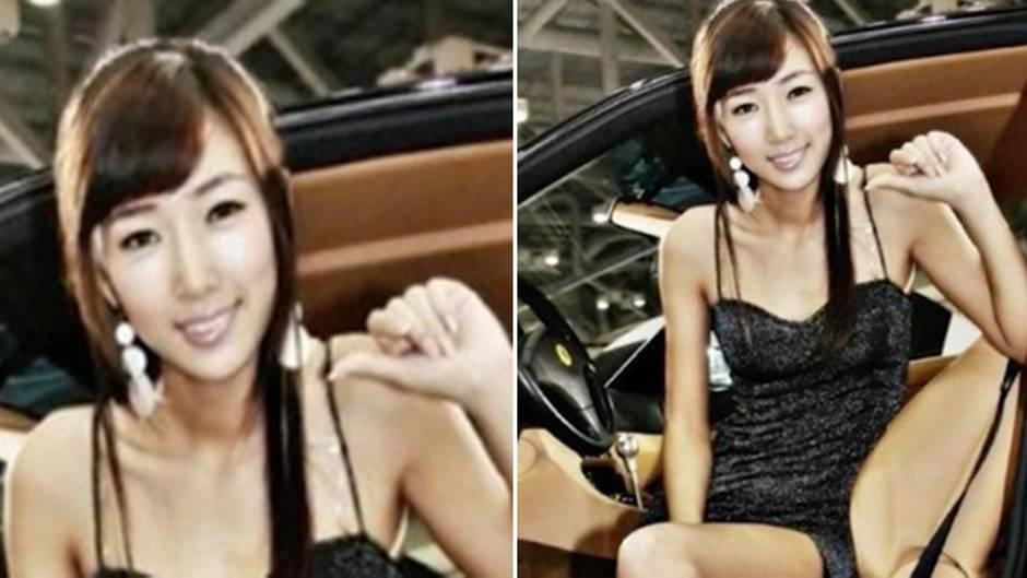 Diskussion über optische Täuschung: Wie sitzt diese Frau im Auto?
