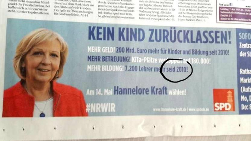 Wahl 2017: NRW-SPD blamiert sich mit Schreibfehler in Anzeige