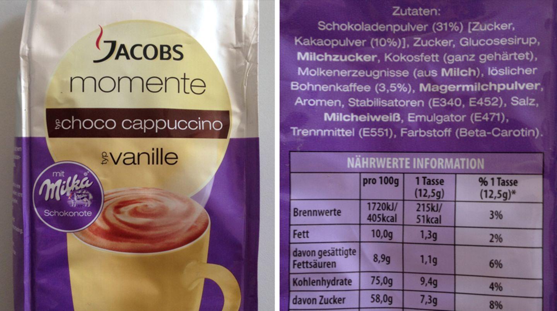 """Brille auf für das winzige """"Typ"""" vor dem Wort Vanille. Der Vanillegeschmack bei Jacobs stammt wohl von künstlichen Aromen (sonst wäre """"natürliches Vanillearoma"""" angegeben). Und die """"Milka-Schokonote"""" entpuppt sich als Schokoladenpulver, das zu 90 Prozent aus Zucker und nur zu 10 Prozent aus Kakaopulver besteht."""