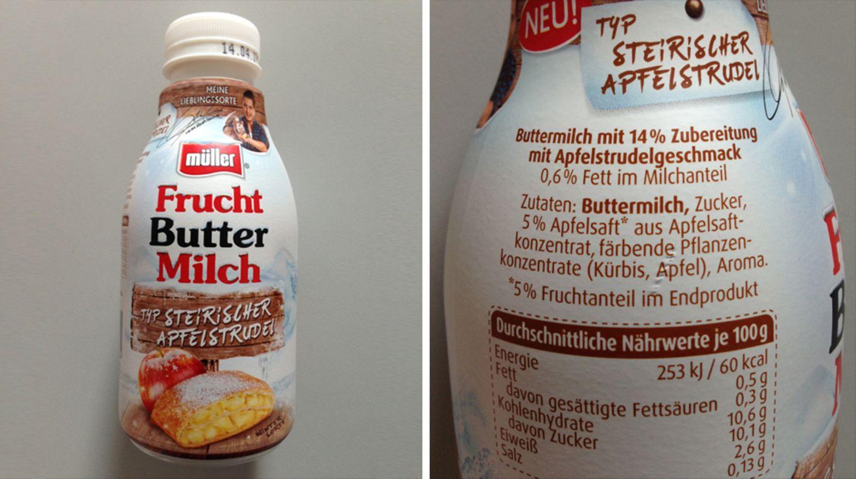 """Was ist denn eine Buttermilch """"Typ Steirischer Apfelstrudel""""? Die Zutatenliste zeigt: 5 Prozent Apfelsaft und etwas Aroma sollen die Steiermark in die Milch bringen. Auf typische Apfelstrudel-Bestandteile wie Rosinen oder Zimt verzichten die Macher lieber."""