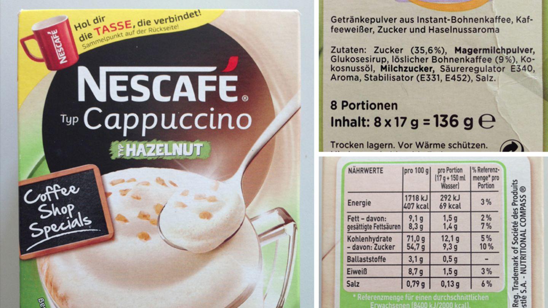 """Gleich zwei Typen auf einem Etikett: Nescafé """"Typ Cappuccino"""", """"Typ Hazelnut"""". Statt Haselnüssen gibt's Aroma, das wahrscheinlich nicht einmal aus Haselnüssen gewonnen wurde, sonst wäre """"natürliches Haselnussaroma"""" angegeben."""