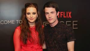 """Katherine Langford und Dylan Minnette bei der Premierenfeier der Serie """"Tote Mädchen lügen nicht"""""""