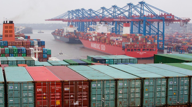 Import und Export: Containerschiffe bringen Waren in den Hamburger Hafen
