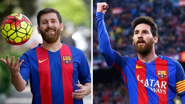 Links das Messi-Double Reza Parastesh, rechts das Original aus Argentinien