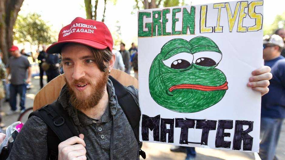 Trump-Unterstützer und Rechtspopulisten auf der ganzen Welt haben Pepe den Frosch für sich instrumentalisiert
