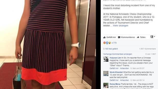 Diese Foto des malaysischen Mädchens in ihrem Rock postete ihr Schachlehrerauf Facebook