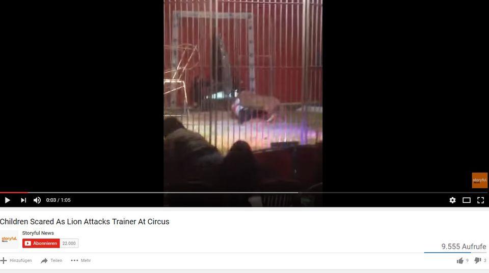 Das Video zeigt die Löwenattacke in einem Zirkus im Norden von Frankreich