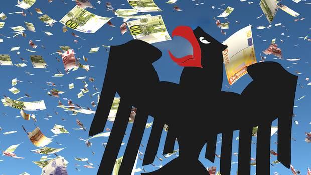 Bundesadler und Geldscheine