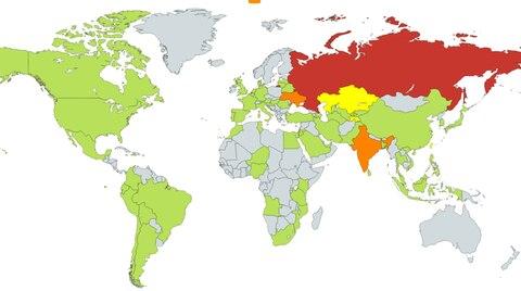 Eine Weltkarte zeigt die Verbreitung des Erpressungstrojaners Wannacry