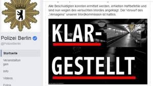 Mit diesem plakativen Facebook-Post wehrt sich die Berliner Polizei