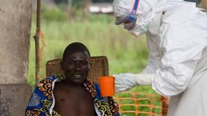 """Ein Arzt der Hilfsorganisation """"Ärzte ohne Grenzen"""" pflegt einen Ebola-Patienten. Die WHO bestätigt den Ausbruch."""