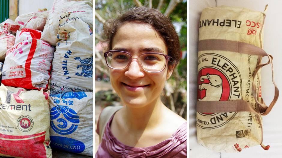 Designertasche aus Zementsäcken produziert in Kambnodscha