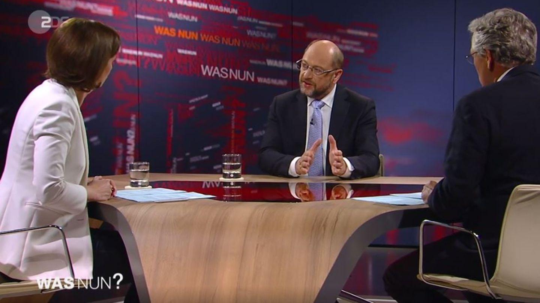 """Martin Schulz bei ZDF-""""Was nun?"""" mit Bettina Schausten und ZDF-Chefredakteur Peter Frey"""