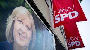 SPD-Geschäftsstelle in Düsseldorf mit Foto von Hannelore Kraft
