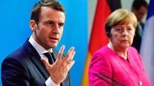 Antrittsbesuch in Berlin: Emmanuel Macron warb am Montag bei Bundeskanzlerin Angela Merkel für seine EU-Reformpläne