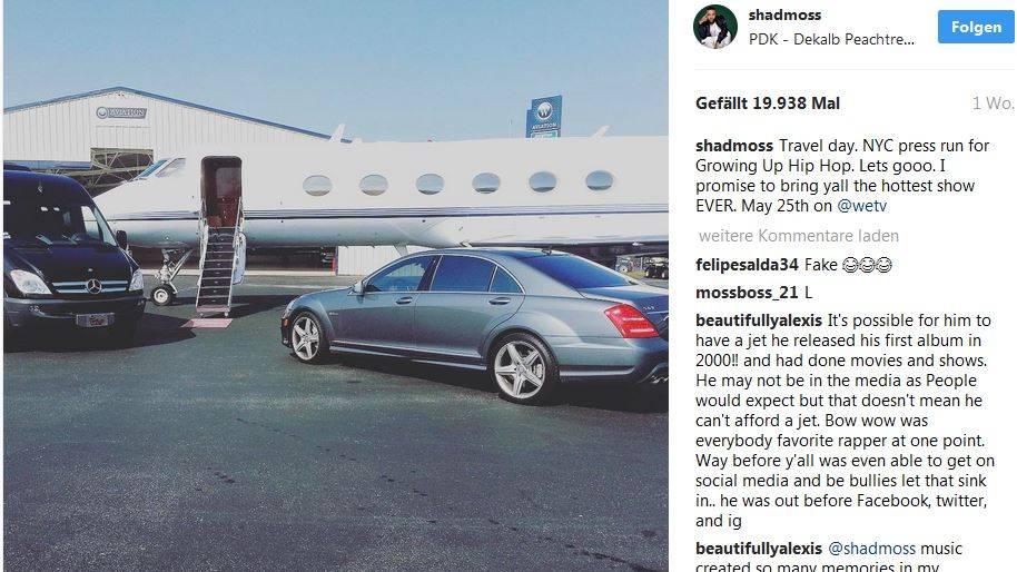 Instagram-Post von Bow Wow mit seinem angeblichen Privatjet