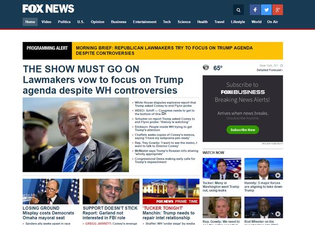 Ein Screenshot von der Berichterstattung auf Fox News zu Donald Trump