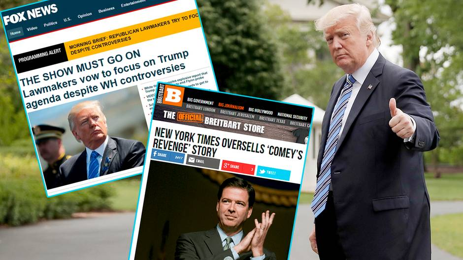 """US-Präsident Donald Trump kommt bei """"Breitbart"""" und Fox News in den meisten Fällen gut weg"""