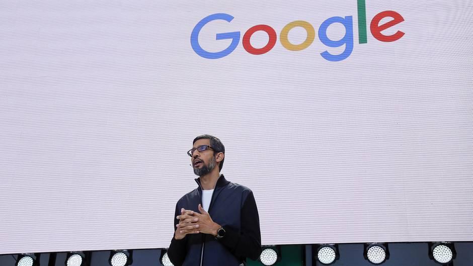 Google-Chef Sundar Pichai bei der ersten Keynote der Entwicklerkonferenz Google I/O.