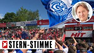 Nach dem Schlusspfiff im Südstadion verbrüderten sich weiß-blaue Duisburger und rot-weiße Kölner