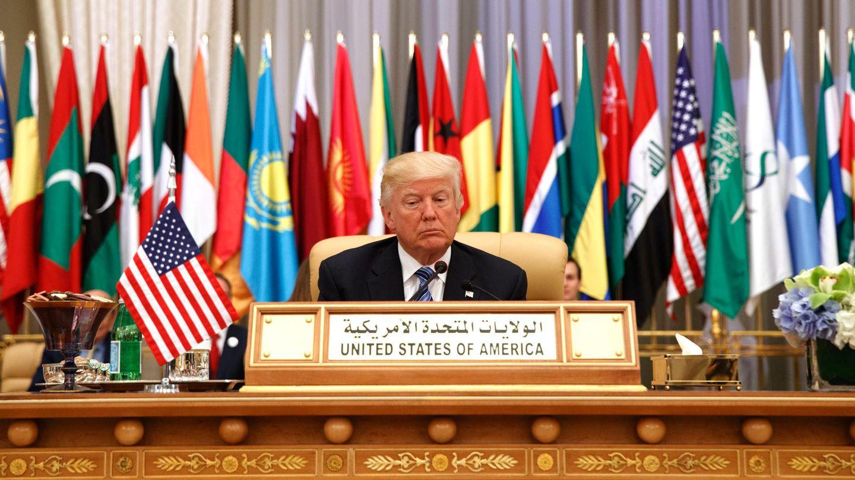 US-Präsident Donald Trump beim Gipfeltreffen mit Führern islamischer Staaten im König-Abdulaziz-Kongresszentrum in Riad