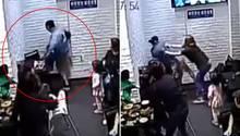 Erst trat die Studentin gegen den Stuhl, hinter dem sich ein kleines Mädchen versteckte (l.), dann lieferte sie sich einen Kampf mit der Mutter der Kleinen