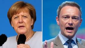 Kombo mit Angela Merkel und Christian Lindner - Union und FDP hätten derzeit eine regierungsfähige Mehrheit im Bund