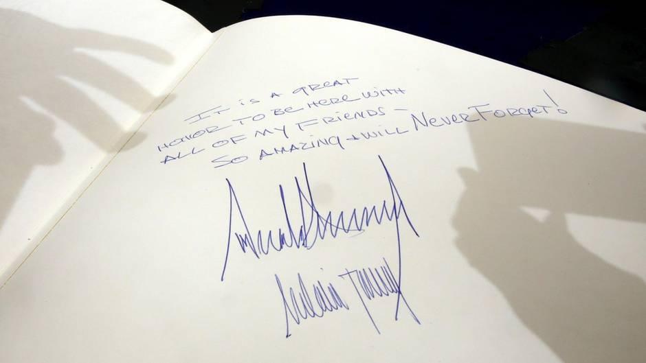 Ein schlichtes Grußwort von Donald Trump in der Holocaust-Gedenkstätte Yad Vashem in Jerusalem