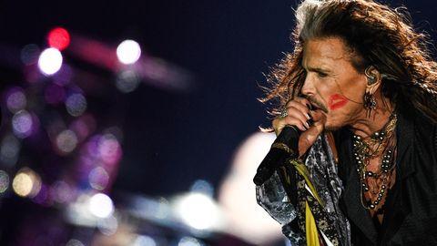 Aerosmith-Frontmann Steven Tyler während eines Konzerts in Moskau, Russland.