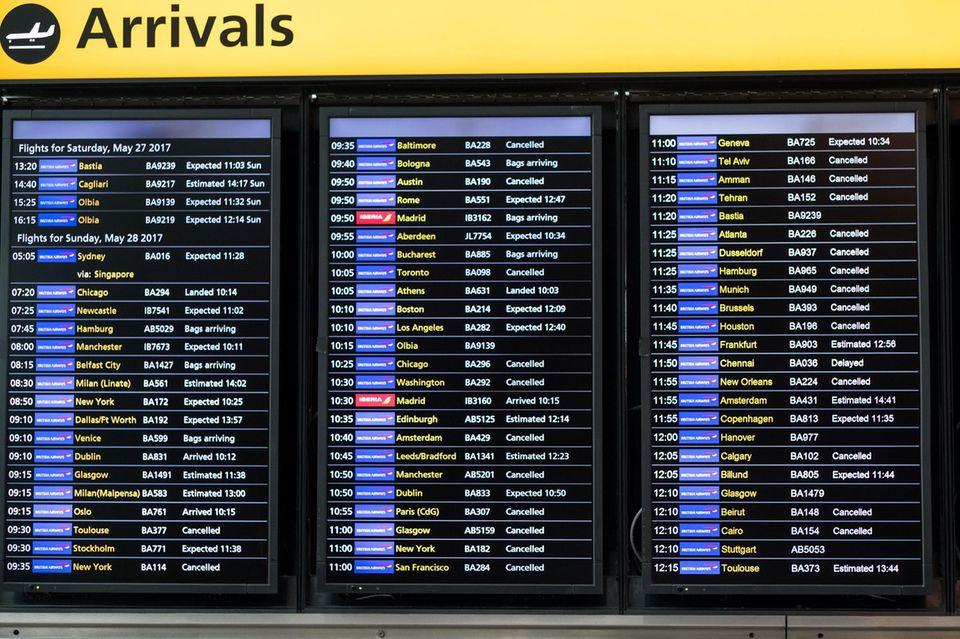 Läuft am Sonntag alles andere als nach Plan: Die Ankünfte in London-Heathrow der Flüge von British Airways.