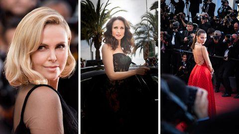 Staraufgebot auf dem roten Teppich auf dem 70. Filmfestspielen in Cannes.  Von links: Schauspielerinnen Charlize Theron und Andi McDowell sowie Model Bella Hadid