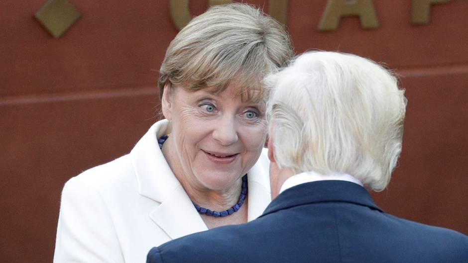 Bundeskanzlerin Angela Merkel mit US-Präsident Donald Trump auf Sizilien