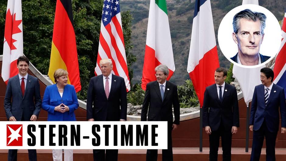 Angela Merkel und Donald Trump (2.v.l.) mit den anderen Staatschefs der G7-Nationen