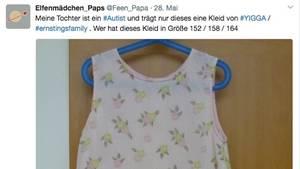 Tweet eines Vater, der ein Kleid für seine Tochter sucht