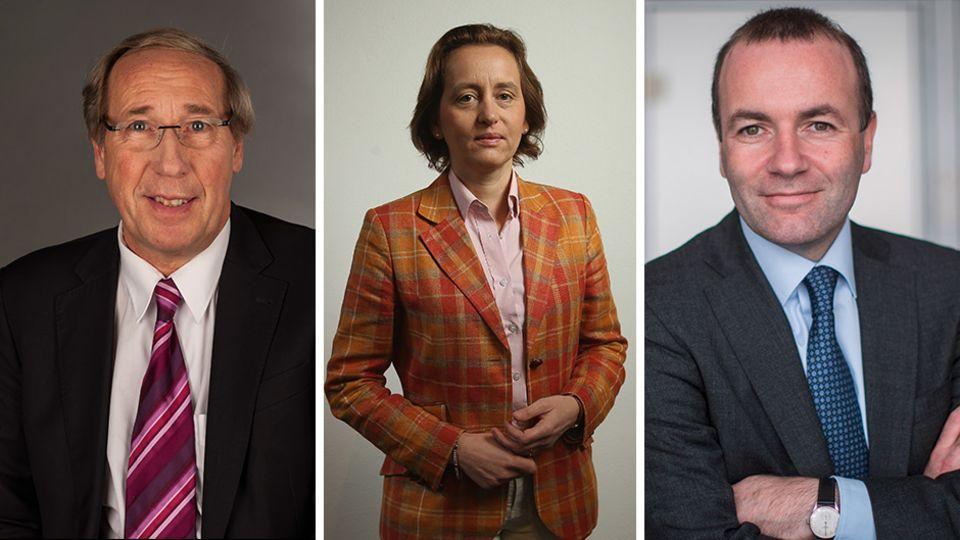 EU-Parlamentarier Norbert Neuser (SPD), Beatrix von Storch (AfD), Manfred Weber (CSU)