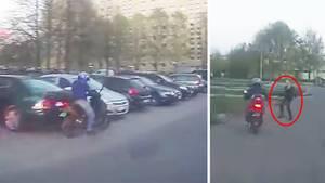 Handtasche versus Motorroller: Frau stoppt flüchtigen Dieb
