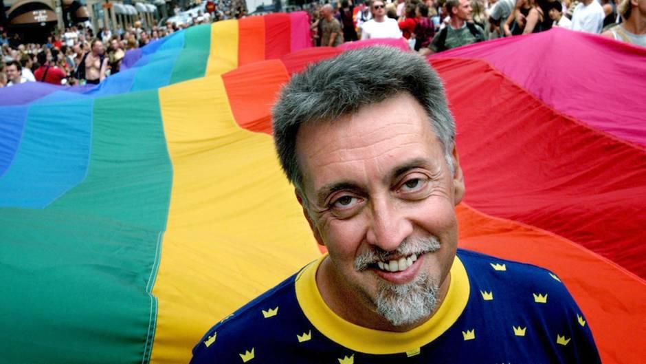 Gilbert Baker 2013 auf der Gay Pride-Parade in Stockholm