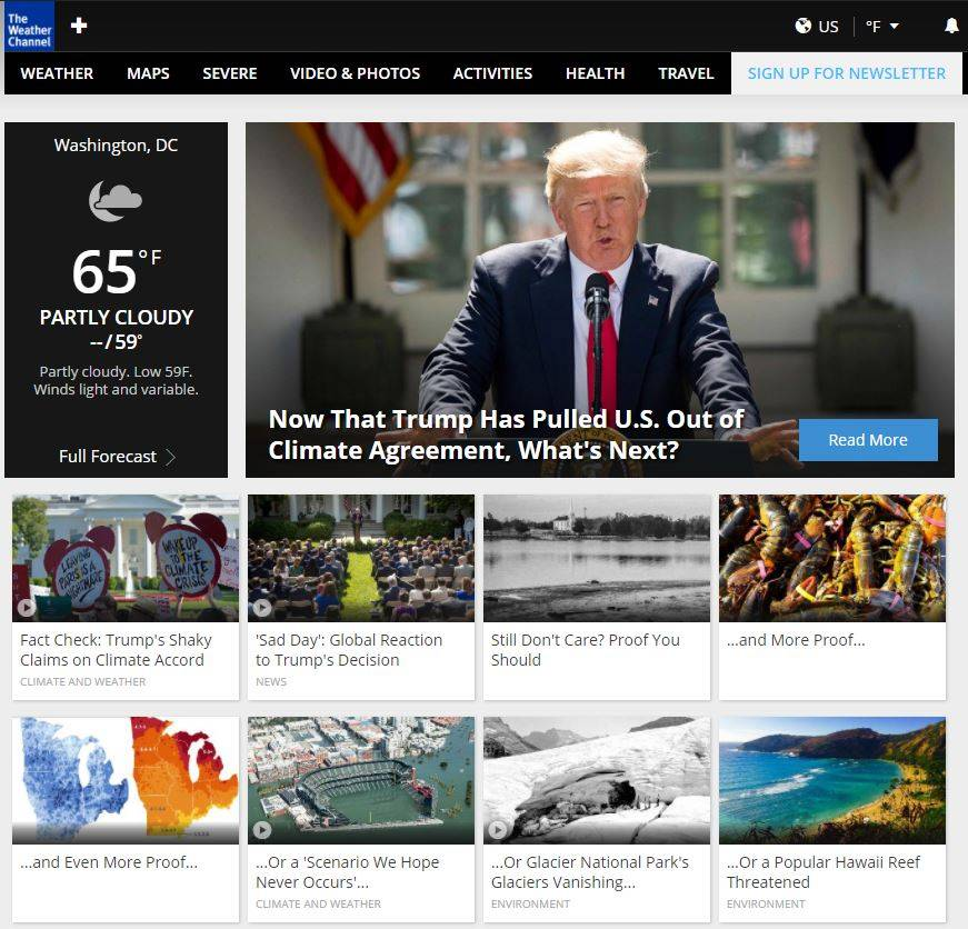 Ein Screenshot der Webseite Weather.com