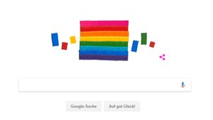 Mit dem Doodle zum 2. Juni erinnert Google an Gilbert Baker, den Schöpfer der Regenbogenfahne