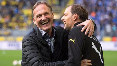 Ein Foto aus besseren Zeiten: BVB-Boss Aki Watzke mit Thomas Tuchel am 7. Spieltag der Bundesliga-Saison