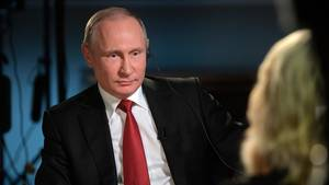 Der russische Präsident Wladimir Putin im NBC-Interview mit Megyn Kelly