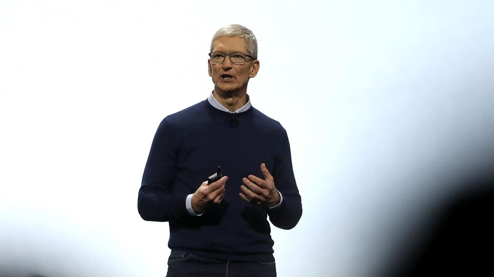 Apple-Chef Tim Cook auf der WWDC-Präsentation des HomePod