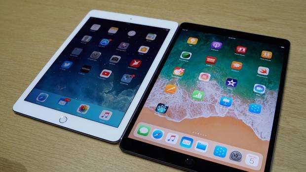 Das neue iPad Pro 10.5 (rechts) neben dem Vorgänger mit 9,7-Zoll-Bildschirm.