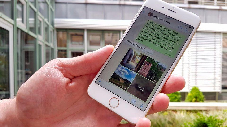 Auf einem iPhone ist das aktuelle Whatsapp-Update mit Fotoalben zu sehen