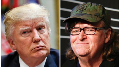 Die Bildkombo zeigt US-Präsident Donald Trump und US-Regisseur Michael Moore